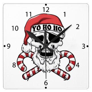 Horloge Carrée Yo ho ho - pirate père Noël - le père noël drôle