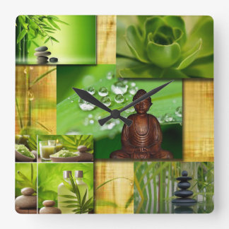 Horloge Carrée Zen et collage verts de sérénité de Bouddha