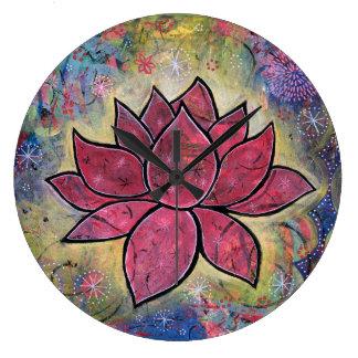 Horloge colorée et paisible de Lotus