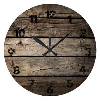 Horloge d'arrière - plan de conseil en bois