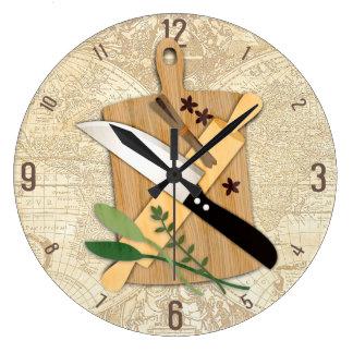 Horloge de cuisine de goupille de couteau de