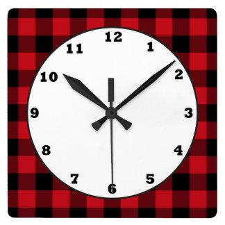 Horloge de cuisine de motif de plaid de buffle de