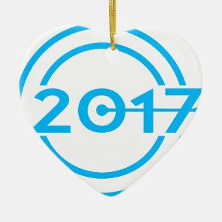 Horloge de date de 2017 bleus ornement cœur en céramique