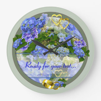 Horloge de ~ de coeurs et d'hortensias