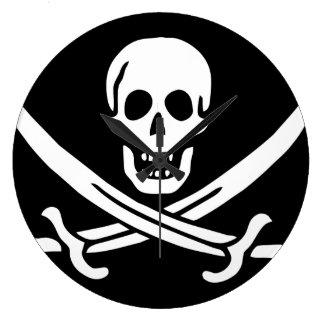 """Horloge de """"drapeau de pirate de Jack de calicot"""""""
