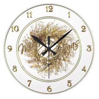 Horloge de Joyeux Noël de guirlande d'or