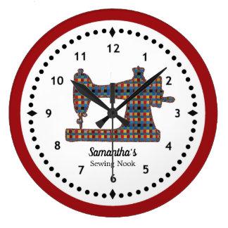 Horloge de machine à coudre de tapisserie de plaid