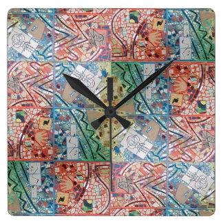 Horloge de mosaïque de patchwork d'art de Phoenix