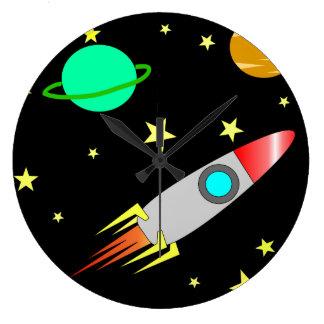 Horloge de scène de l'espace des enfants illustrés