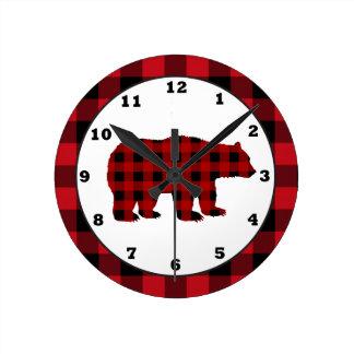 Horloge d'ours de plaid de buffle de cuisine de