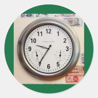 Horloge et devise sticker rond