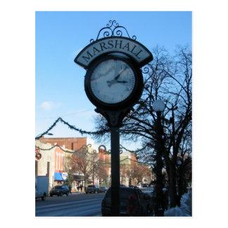 Horloge, Marshall du centre, Michigan Carte Postale