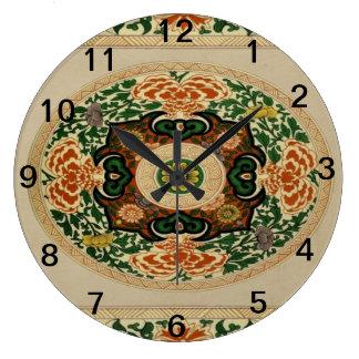 Horloge multicolore florale d'acrylique de motif
