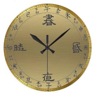 horloge murale asiatique de chiffres d'or