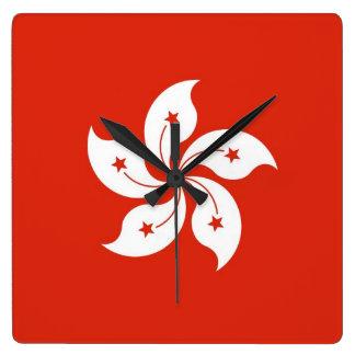 Horloge murale avec le drapeau de Hong Kong, Chine