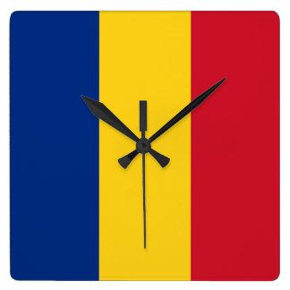 Horloge murale avec le drapeau de la Roumanie