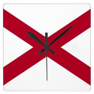 Horloge murale avec le drapeau de l'Alabama,