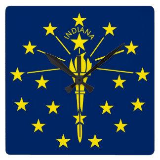 Horloge murale avec le drapeau de l'Indiana,