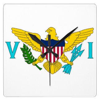 Horloge murale avec le drapeau des Îles Vierges,
