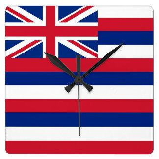 Horloge murale avec le drapeau d'Hawaï, Etats-Unis