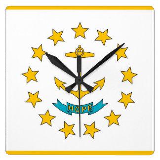 Horloge murale avec le drapeau d'Île de Rhode,