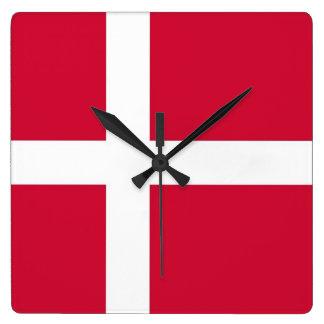 Horloge murale avec le drapeau du Danemark