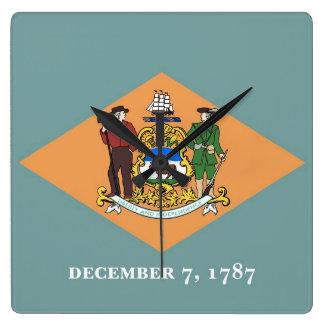 Horloge murale avec le drapeau du Delaware,