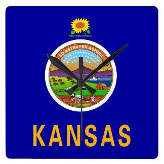 Horloge murale avec le drapeau du Kansas,