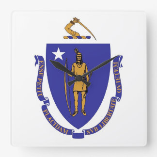Horloge murale avec le drapeau du Massachusetts,