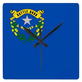 Horloge murale avec le drapeau du Nevada,