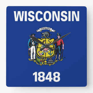 Horloge murale avec le drapeau du Wisconsin,