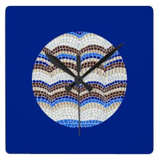 Horloge murale bleue ronde de carré de mosaïque