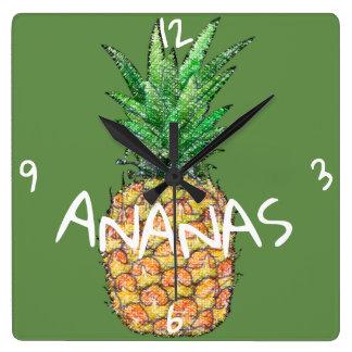 horloge murale carré Ananas