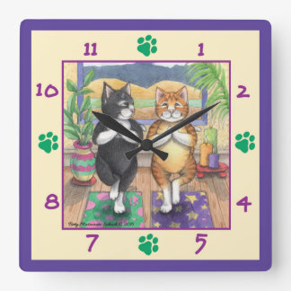 Horloge murale carrée de chats de yoga