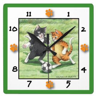 Horloge murale carrée de chats du football