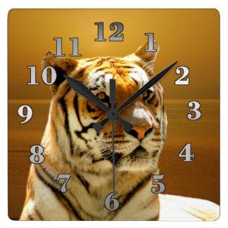 Tigre horloges tigre pendules murales - Horloge murale carree ...