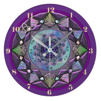 Horloge murale celtique pourpre de mandala