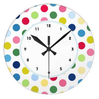 motif de point color de polka horloges motif de point color de polka pendules murales. Black Bedroom Furniture Sets. Home Design Ideas