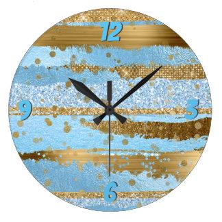 Horloge murale de charme de bleu et d'or