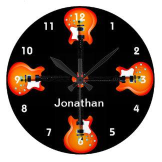 Horloge murale de conception de guitares