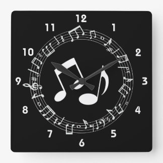 Horloge murale de conception de notes musicales