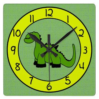 Horloge murale de dinosaure vert pour des enfants