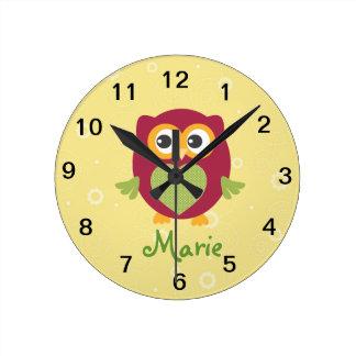 Horloge murale de hibou d'enfants
