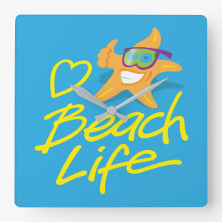 Horloge murale de la vie de plage de coeur de