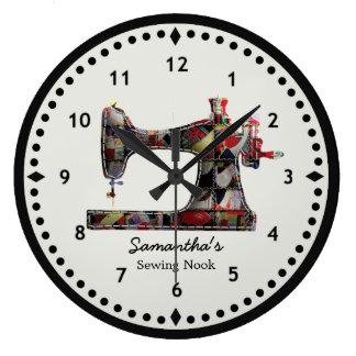 Horloge murale de machine à coudre d'édredon de