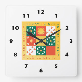 Horloge murale de Noël d'éloge de patchwork, carré