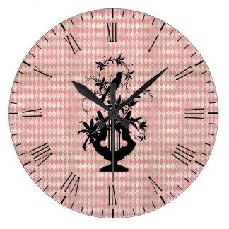 Horloge murale de silhouette d'oiseau d'harpe de
