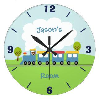 Horloge murale de train de garçons