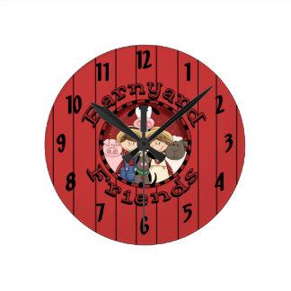 Horloge murale d'enfants d'amis de basse-cour