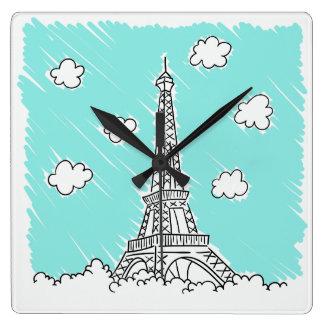 Horloge murale d'illustration de Tour Eiffel